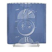 1939 Bowling Ball Patent - Light Blue Shower Curtain