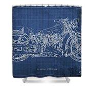 1939 Brough Superior Ss100 Blueprint Blue Background Shower Curtain