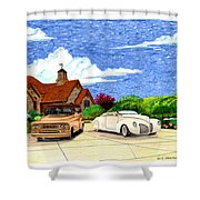 1939 Lincoln Zephyr  Family Home Shower Curtain