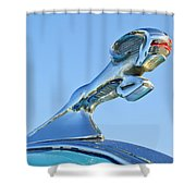 1940 Dodge Business Coupe Hood Ornament Shower Curtain