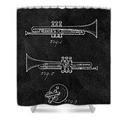 1940 Trumpet Patent Illustration Shower Curtain