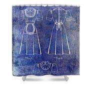 1940 Waitress Uniform Patent Blue Shower Curtain