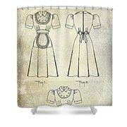 1940 Waitress Uniform Patent Shower Curtain
