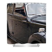 1940s Couple Driving In A Vintage Car Shower Curtain