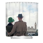 1940s Couple In London  Shower Curtain