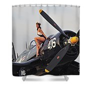 1940s Style Navy Pin-up Girl Sitting Shower Curtain
