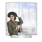 1940s Woman At The Seaside  Shower Curtain
