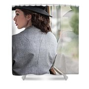 1940s Woman Making A Journey On Public Transport Shower Curtain