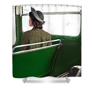 1940s Woman On A Bus Shower Curtain