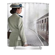 1940's Woman On A Railway Platform With Steam Train  Shower Curtain
