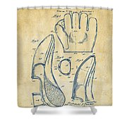 1941 Baseball Glove Patent - Vintage Shower Curtain by Nikki Marie Smith