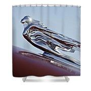 1941 Cadillac Fleetwood 60 Hood Ornament Shower Curtain