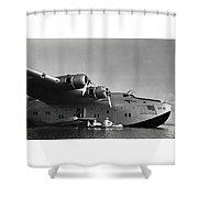 1942 China Clipper Vists Hawaii Shower Curtain