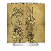 1942 Chopper Motorcycle Patent Shower Curtain