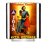 1942 Civil Defense Poster By Charles Coiner Shower Curtain