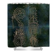 1942 Grunge Chopper Motorcycle Patent Shower Curtain