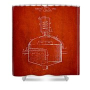 1944 Art Of Brewing Beer Patent - Red Shower Curtain