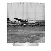 1944 B-24 H Plane In Field W/ Sheeep Pantanella Airfield Italy Shower Curtain
