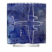 1945 Transport Airplane Patent Blue Shower Curtain