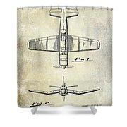 1946 Airplane Patent Shower Curtain