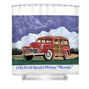 1946 Ford Woody Shower Curtain