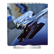 1947 Cadillac 62 Convertible Hood Ornament Shower Curtain