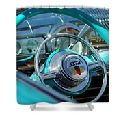 1947 Ford Deluxe Convertible Steering Wheel Shower Curtain