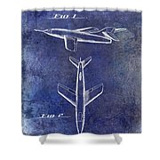 1947 Jet Airplane Patent Blue Shower Curtain