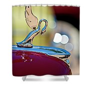 1947 Packard Coupe Hood Ornament Shower Curtain