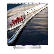 1947 Plymouth Hood Ornament 1 Shower Curtain