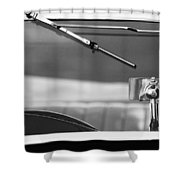 1948 Mg Tc Rear View Mirror Black And White Shower Curtain