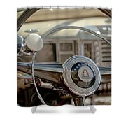 1948 Plymouth Deluxe Steering Wheel Shower Curtain