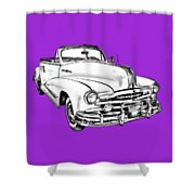 1948 Pontiac Silver Streak Convertible Illustration Shower Curtain