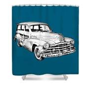 1948 Pontiac Silver Streak Woody Illustration Shower Curtain
