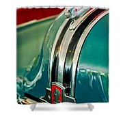 1948 Pontiac Streamliner Woody Wagon Hood Ornament Shower Curtain