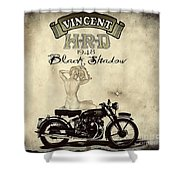 1948 Vincent Black Shadow Shower Curtain by Cinema Photography