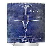 1949 Airplane Patent Drawing Blue Shower Curtain