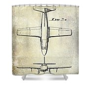 1949 Airplane Patent Drawing Shower Curtain