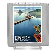1949 Corfu Greece Travel Poster Shower Curtain