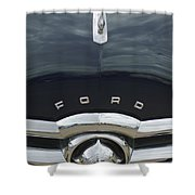 1949 Ford Hood Ornament 4 Shower Curtain