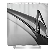 1949 Hudson Super Six  Hood Ornament -0436bw Shower Curtain