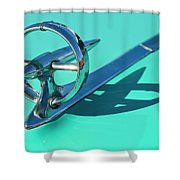 1950 Buick Hood Ornament Shower Curtain
