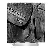 1950 Chevrolet Truck Emblem Black And White Shower Curtain
