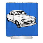 1950  Ford Custom Antique Car Illustration Shower Curtain