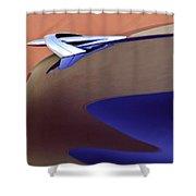 1950 Mercury Club Coupe Hood Ornament Shower Curtain