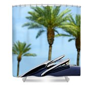 1950 Oldsmobile Rocket 88 Convertible Hood Ornament And Palms Shower Curtain