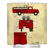 1950 Red Firetruck Patent Shower Curtain