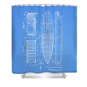 1950 Surfboard Patent Shower Curtain
