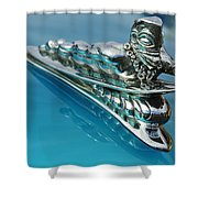 1950 Woodie Wagon One Of A Kind Hood Ornament 2 Shower Curtain