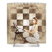 1950s Fictional Pinup Writer Shower Curtain